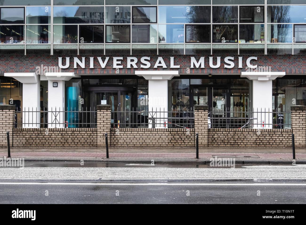 Berlin-Friedrichshain. Universal Music GmbH in a former egg cold-storage warehouse designed by Oskar Pusch 1928-9. German subsidiary of Universal Musi Stock Photo