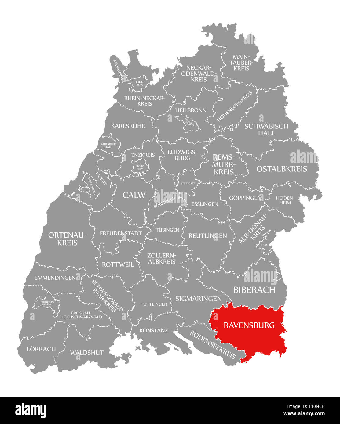 Ravensburg County Red Highlighted In Map Of Baden Wuerttemberg