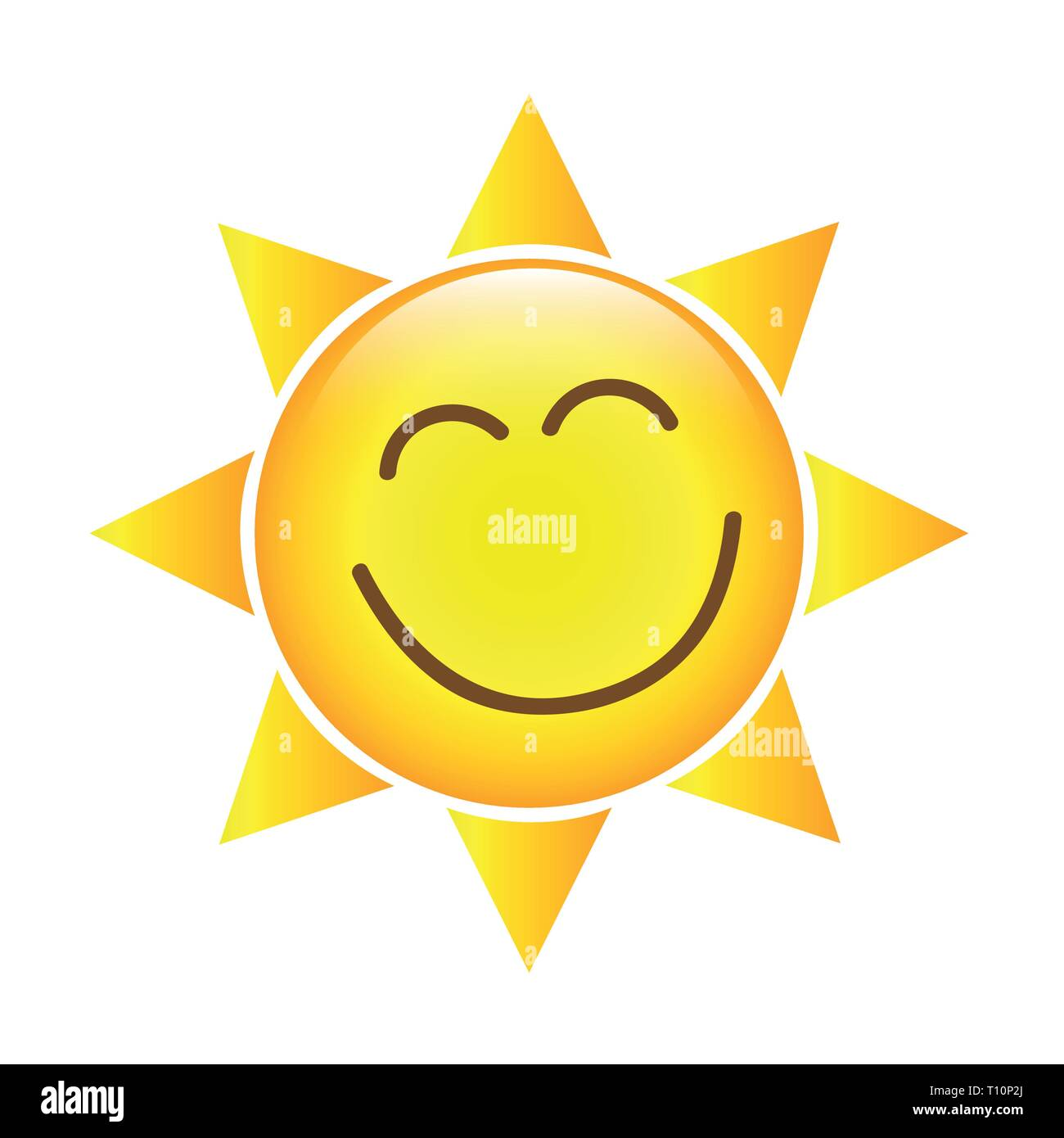 happy yellow sun face icon isolated on a white background vector illustration EPS10 - Stock Vector