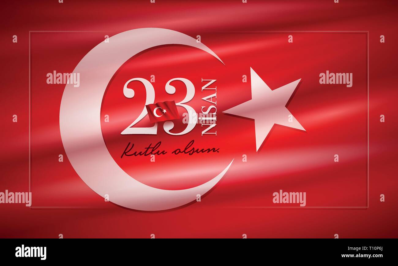 Turkish National Festival. 23 Nisan Cocuk Bayrami, April 23 Turkish National Sovereignty and Children's Day in Turkey. Typographic design for social m - Stock Vector