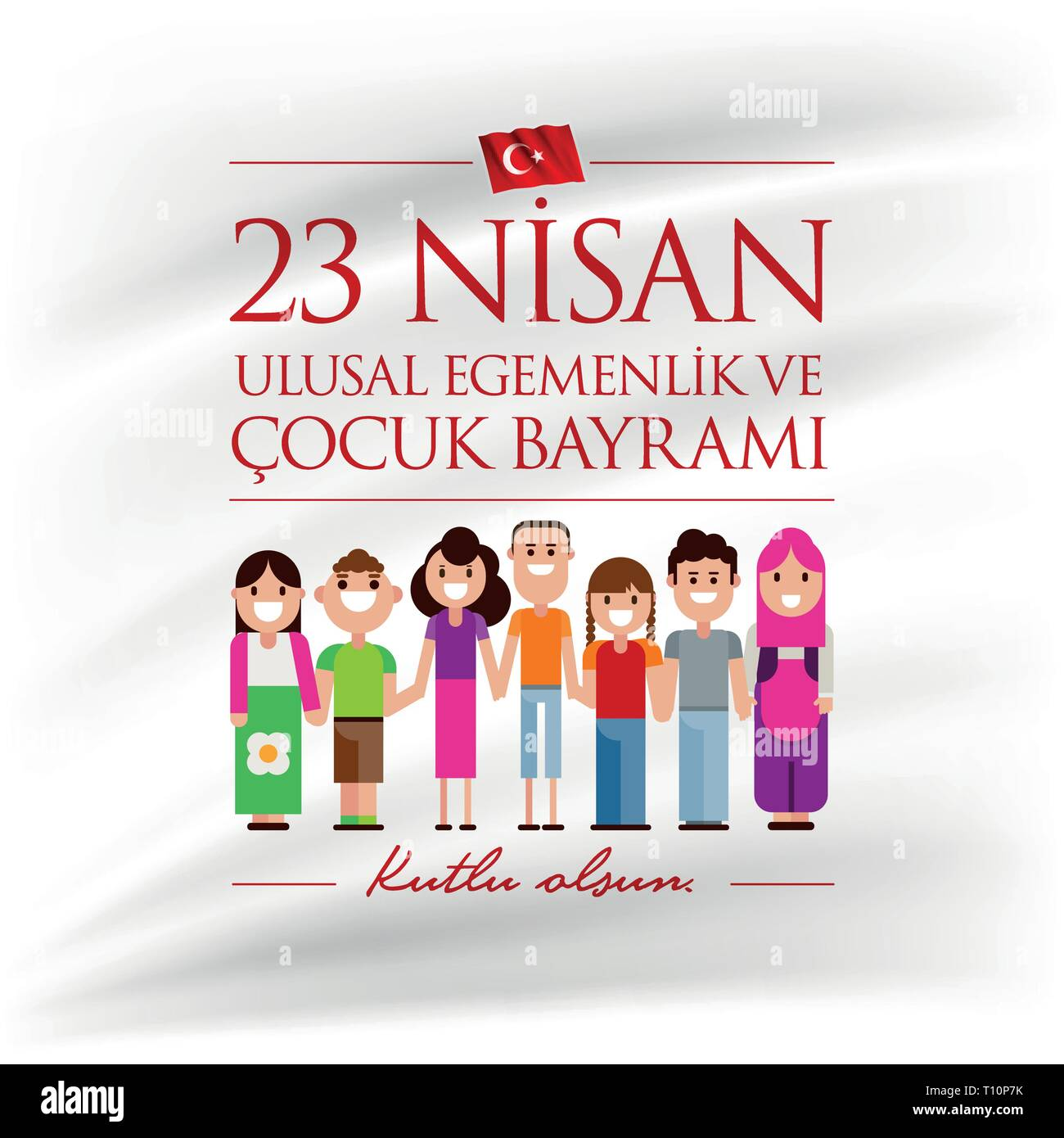 Vector illustration of the 23 Nisan Cocuk Bayrami, April 23 Turkish National Sovereignty and Children's Day, design template for the Turkish holiday. - Stock Vector