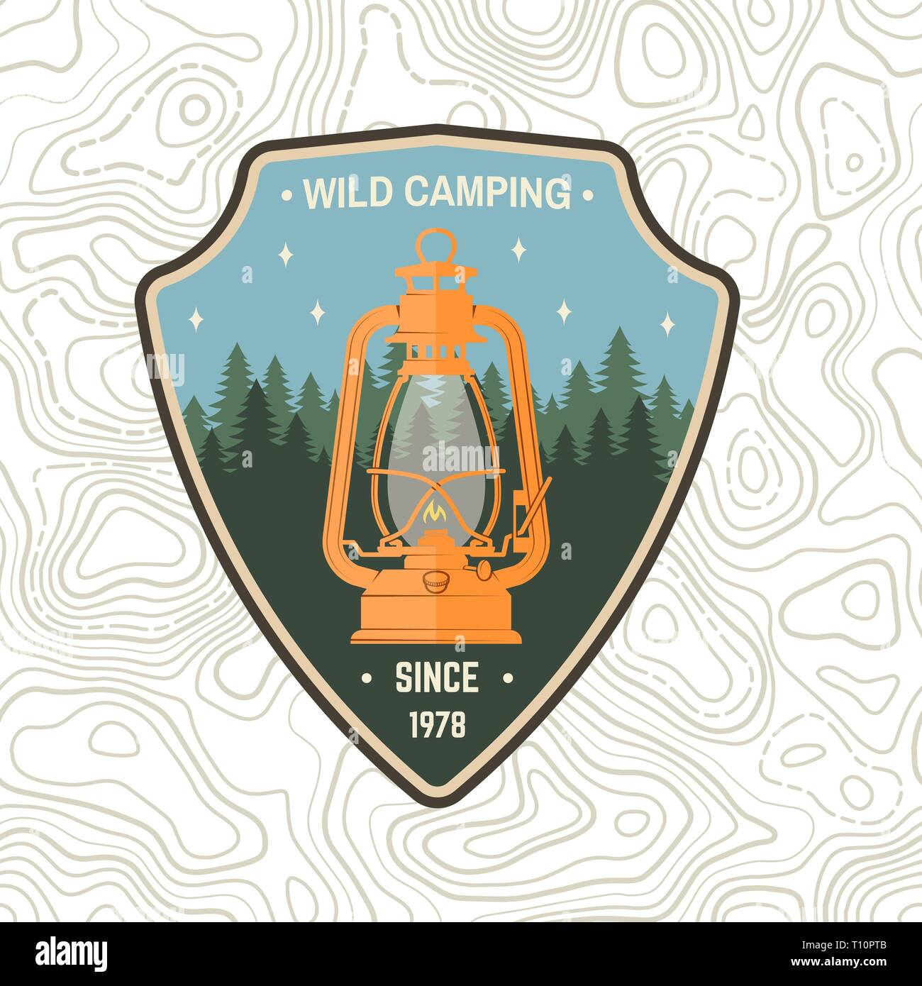 Wild camping patch. Vector illustration. Concept for shirt, print, stamp, apparel or tee. Vintage typography design with camp lantern and forest silhouette. Outdoor adventure symbol - Stock Vector