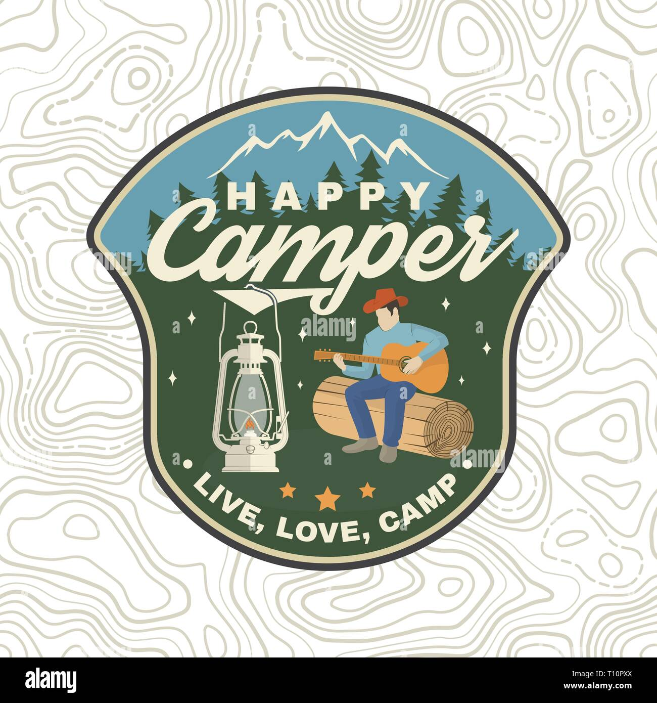 Happy camper patch. Vector illustration. Concept for shirt or logo, print, stamp, apparel or tee. Vintage typography design with camp lantern, man with guitar and mountain silhouette. Live, love, camp - Stock Vector
