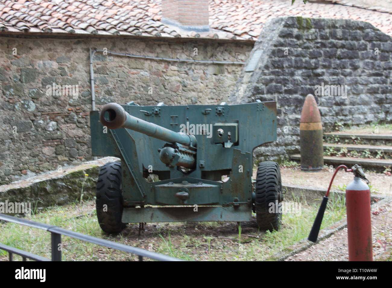 Italy, Montecatini Alto - April 25 2017: the view of weaponry inside ancient fortress of Montecatini Alto on April 25 2017 in Tuscany, Italy. - Stock Image