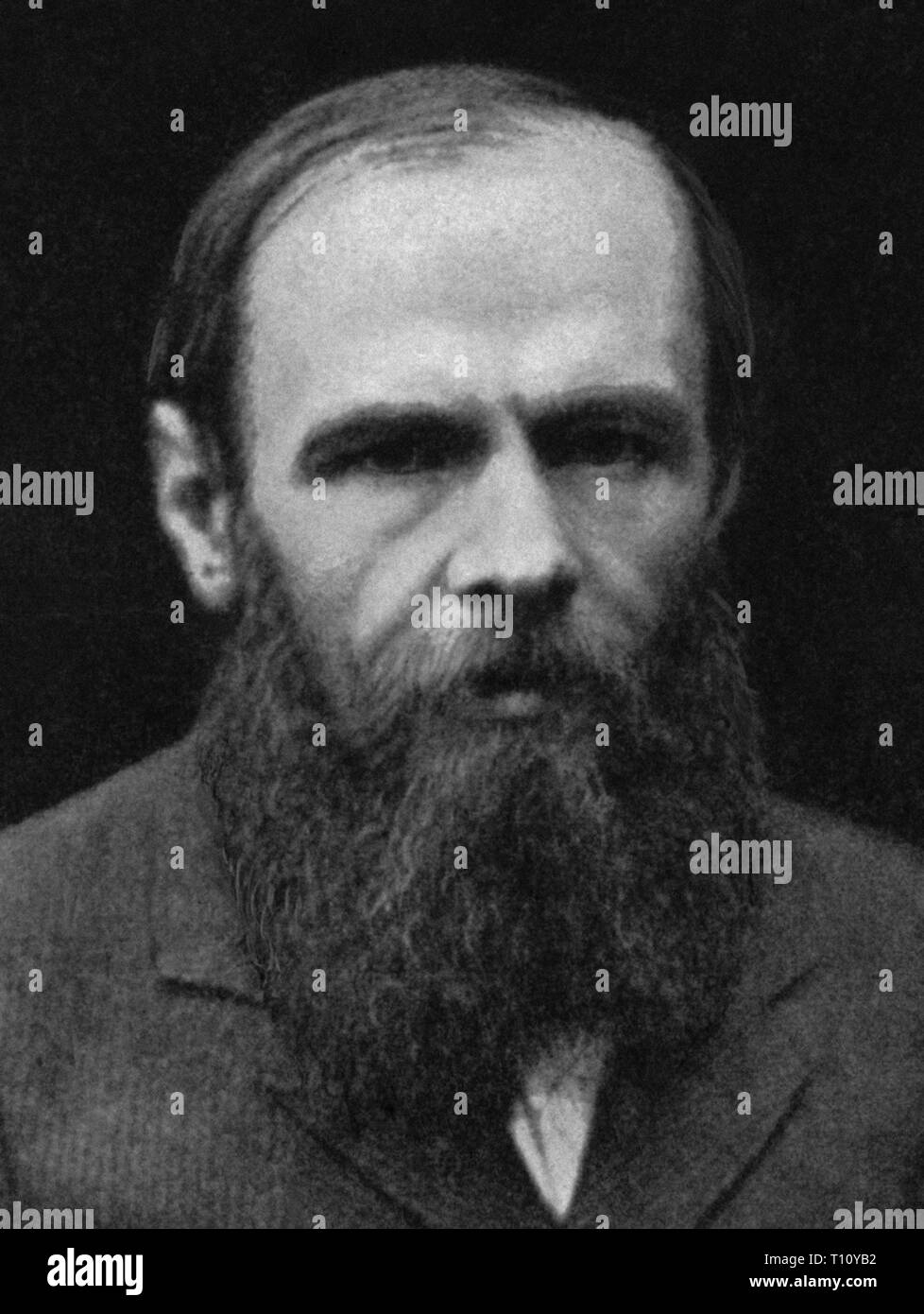 Fyodor Mikhailovich Dostoevsky, sometimes transliterated Dostoyevsky, was a Russian novelist, short story writer, essayist, journalist and philosopher. Scanned from image material in the archives of Press Portrait Service - (formerly Press Portrait Bureau). Stock Photo