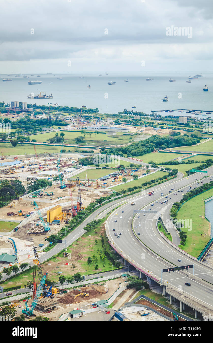 May 01 2018 - Straits View aerial landscape, undeveloped planning region besides Marina Bay and Downtown Core of Singapore - Stock Image