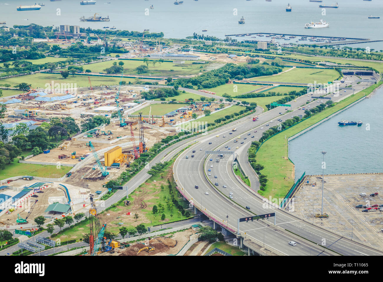 May 01 2018 - Straits View aerial landscape, undeveloped planning region besides Marina Bay and Downtown Core of Singapore Stock Photo