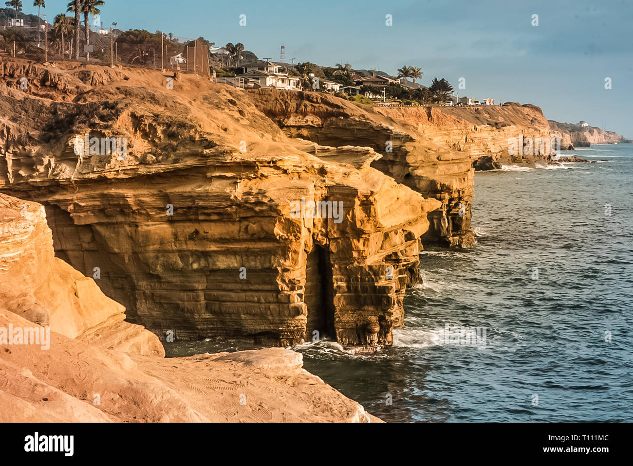 Views of the Pacific Ocean off the California Coast at Sunset Cliffs Natural Park near La Jolla Beach and San Diego. Stock Photo