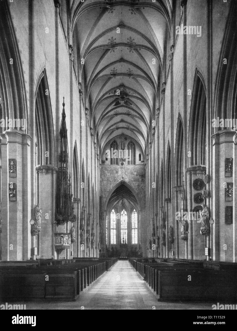 geography / travel, Germany, Baden-Wuerttemberg,Ulm, churches, Ulm minster, built 1377 - 1890, interior view, longhouse with chancel, 1937, religion, religions, Christianity, Middle Ages, medieval, mediaeval, Gothic style, Gothic period, gotisch, cross vault, cross vaults, vault, vaults, Southern Germany, the South of Germany, Germany, Central Europe, Europe, beadhouse, bedehouse, sacred building, sacred buildings, architecture, 20th century, 1930s, Baden-Wuerttemberg, Baden Wuerttemberg, Wuertemberg, Baden-Wurtemberg, Wurtemberg, Wurttemberg, Ba, Additional-Rights-Clearance-Info-Not-Available Stock Photo
