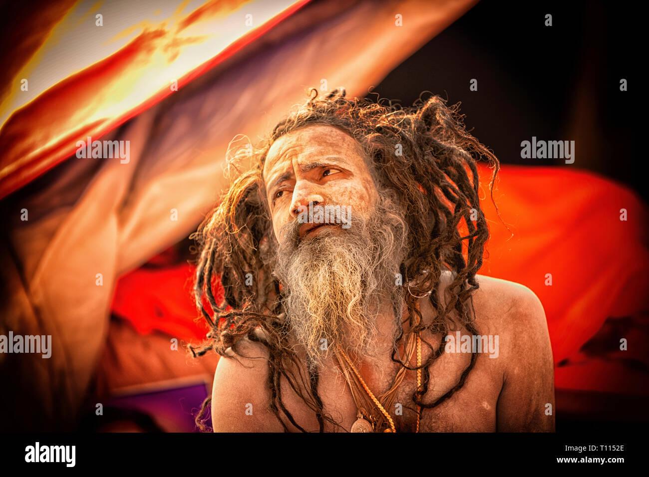 Naga Sadhu at the Kumbh Mela 2019 - Stock Image