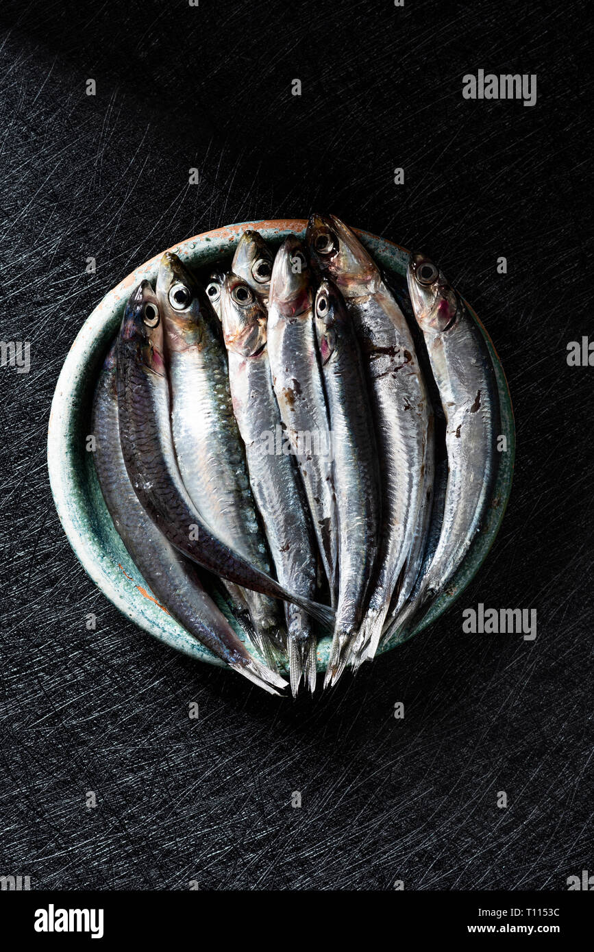 a rustic green earthenware plate with some raw spanish boquerones, anchovies typical in Spain, ready to be cooked, on a black textured surface - Stock Image