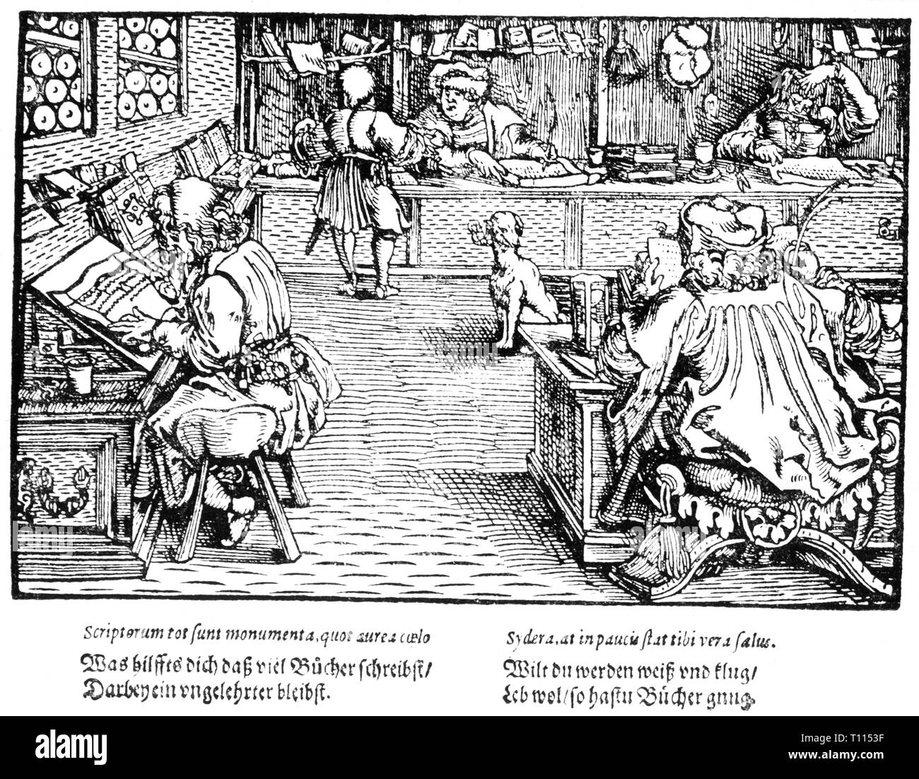 "writing, scribes, scholars in an office, ""Trostspiegel"", woodcut by the Master of the Trostspiegel, 6th edition, printed by Vincenz Steinmeyer, Frankfurt am Main, 1620, Additional-Rights-Clearance-Info-Not-Available Stock Photo"