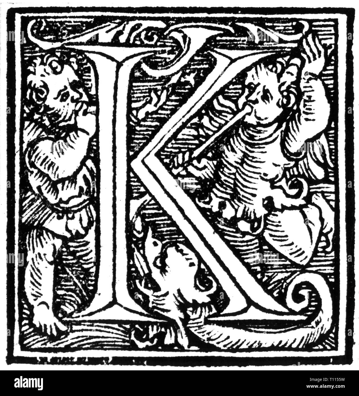 writing, script, Latin, Capitalis Monumentalis, initial 'K', from: 'Liber quindecim Missarum', printed by Johannes Petreius, Nuremberg, 1539, Additional-Rights-Clearance-Info-Not-Available - Stock Image