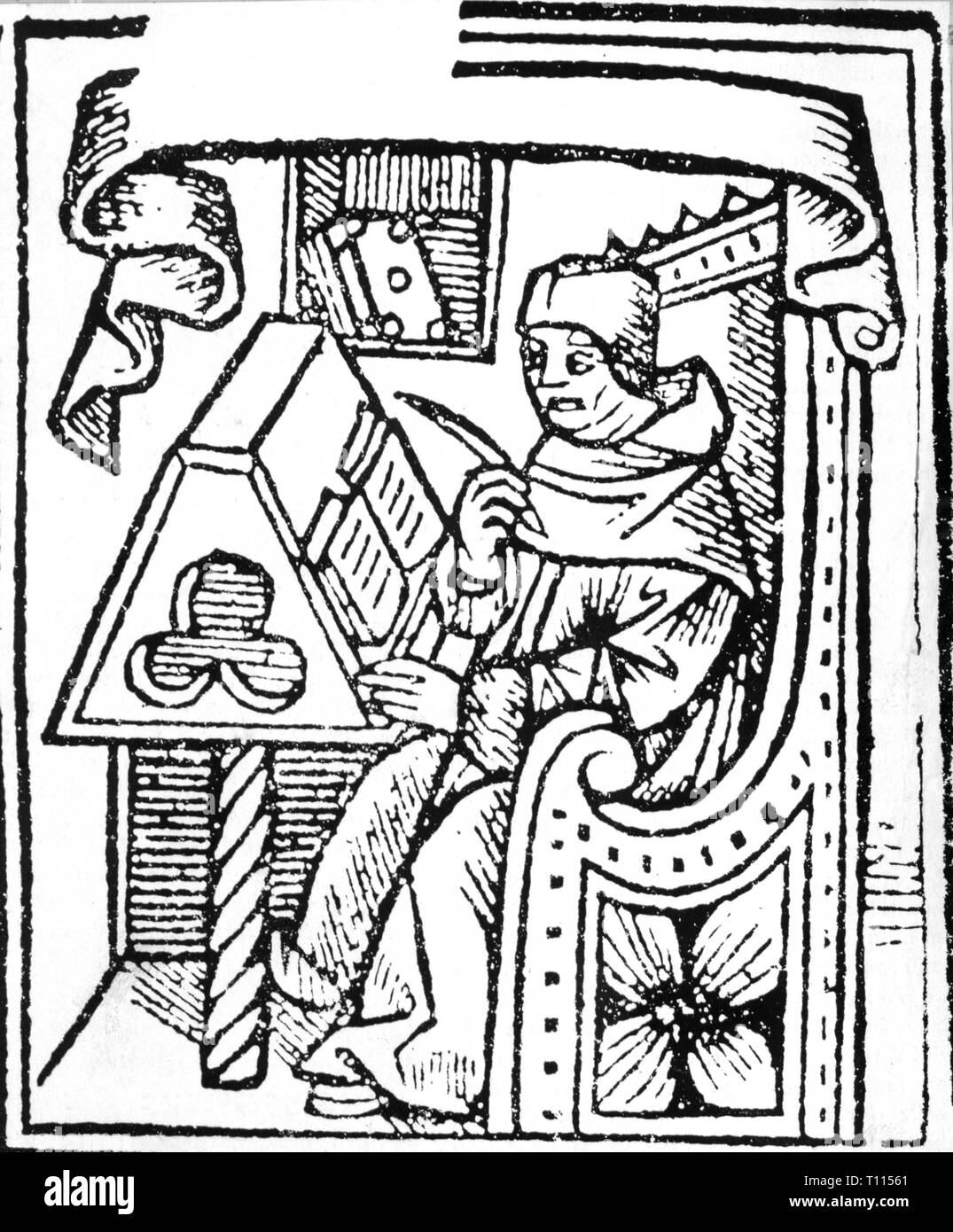 writing, scribes, scholar at the lectern, woodcut, 16th century, quill, quills, office, offices, book, books, Renaissance, people, man, men, male, manly, scholar, scholars, writing desk, writing desks, woodcut, woodcuts, historic, historical, Additional-Rights-Clearance-Info-Not-Available Stock Photo