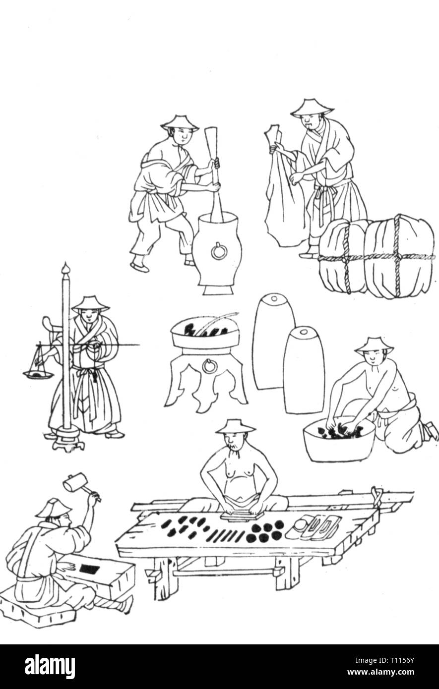 industry, stationery, ink, fabrication of Chinese ink, mixing of the ink, woodcut, 1573 - 1619, Artist's Copyright has not to be cleared - Stock Image