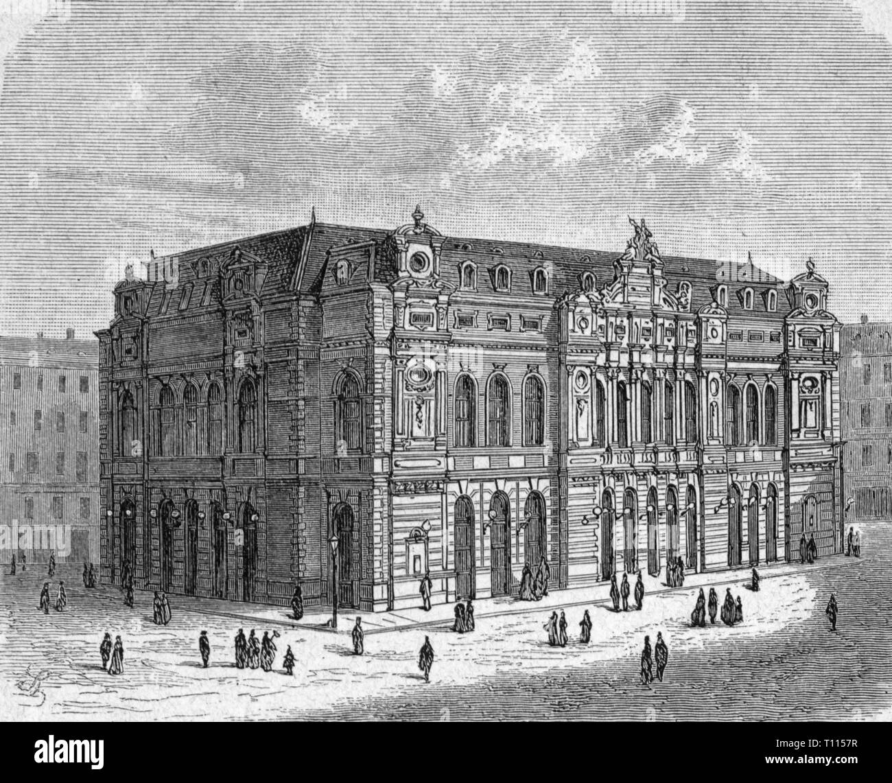 geography / travel historic, Germany, cities and communities, Cologne, theatre / theater, municipal theatre at the Glockengasse, built 1870 - 1872, architect: Julius Carl Raschdorff, exterior view, wood engraving, circa 1880, city, playhouse, playhouses, culture, cultures, building, buildings, street, streets, people, Kingdom of Prussia, Rhine Province, Rhineland, German Empire, Imperial Era, Europe, 19th century, community, communities, theatre / theater, theaters, municipal theatre, municipal theatres, architect, architects, historic, historical, Artist's Copyright has not to be cleared - Stock Image