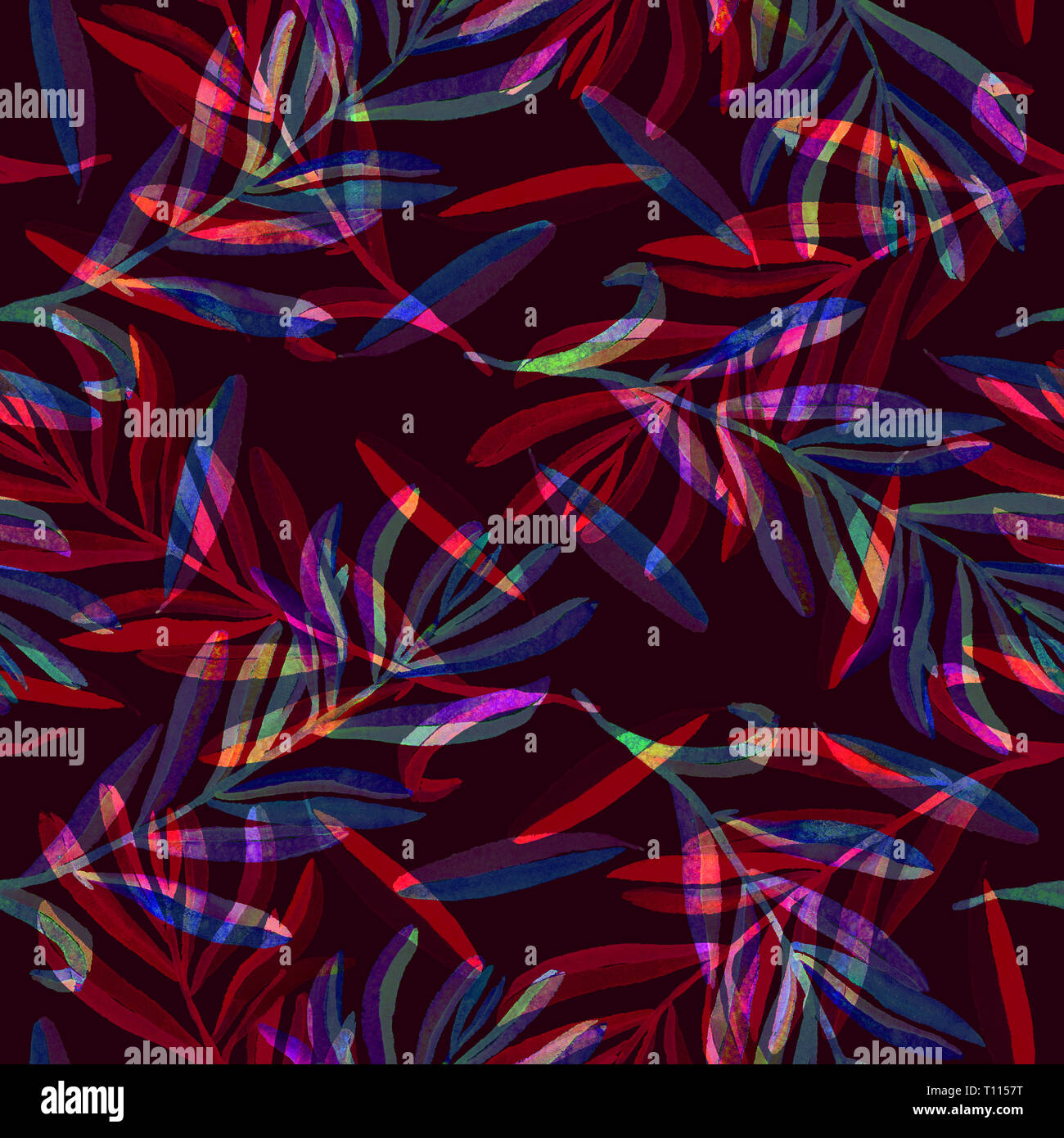 Branches With Red Blue Purple Leaves Seamless Pattern Design