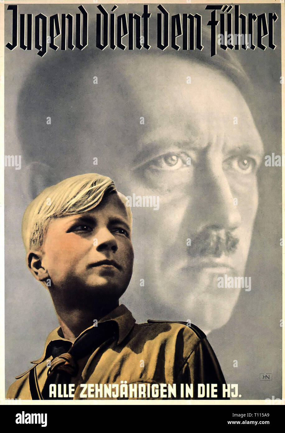 Nazism / National Socialism, organisations, Hitler Youth Junior Section, poster 'Jugend dient dem Fuehrer' (Youth Is Serving the Fuehrer), design: Hein Neuner (1910 - 1984), 1939, Additional-Rights-Clearance-Info-Not-Available - Stock Image