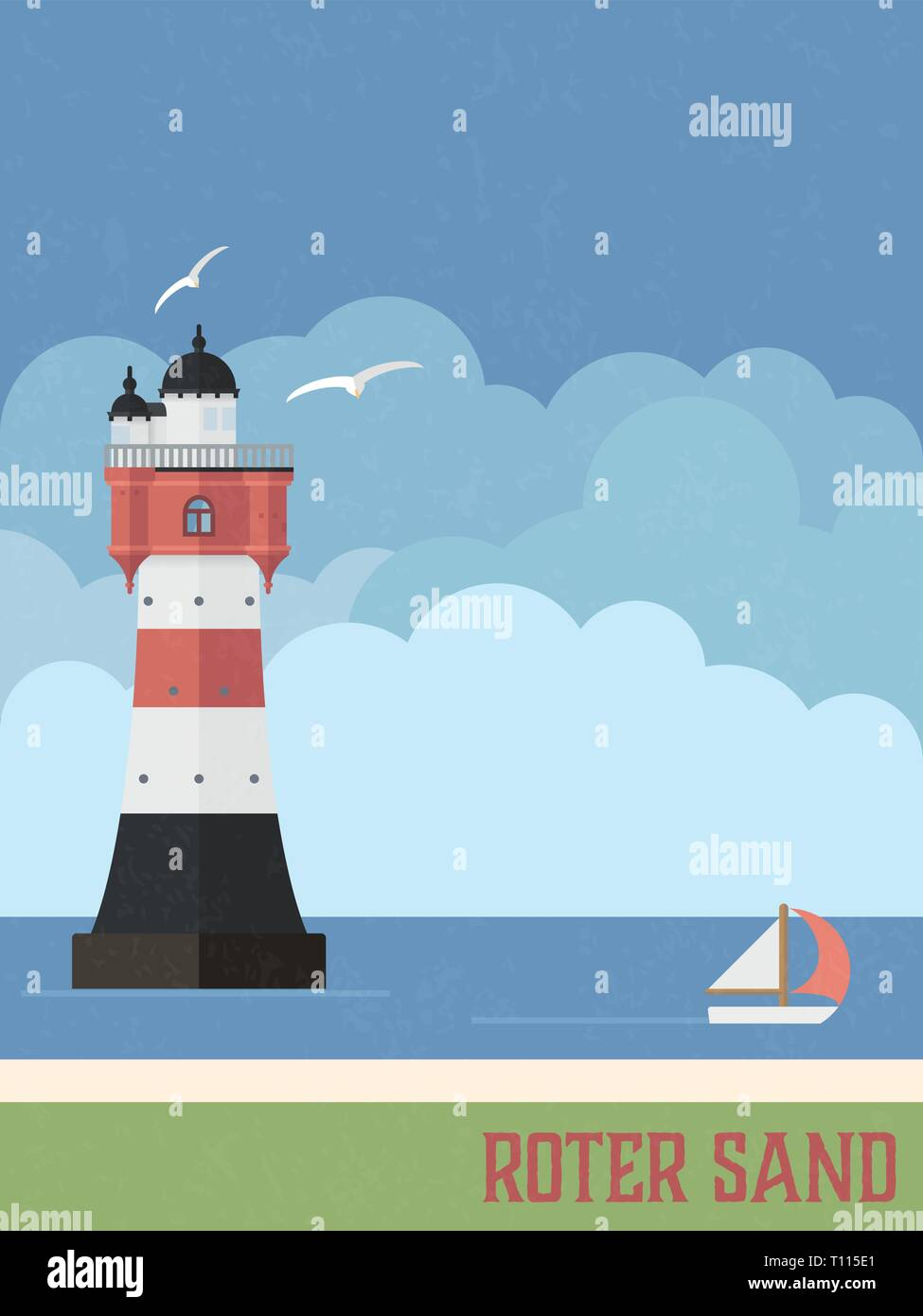 Roter Sand lighthouse in the North Sea retro styled poster vector illustration - Stock Vector