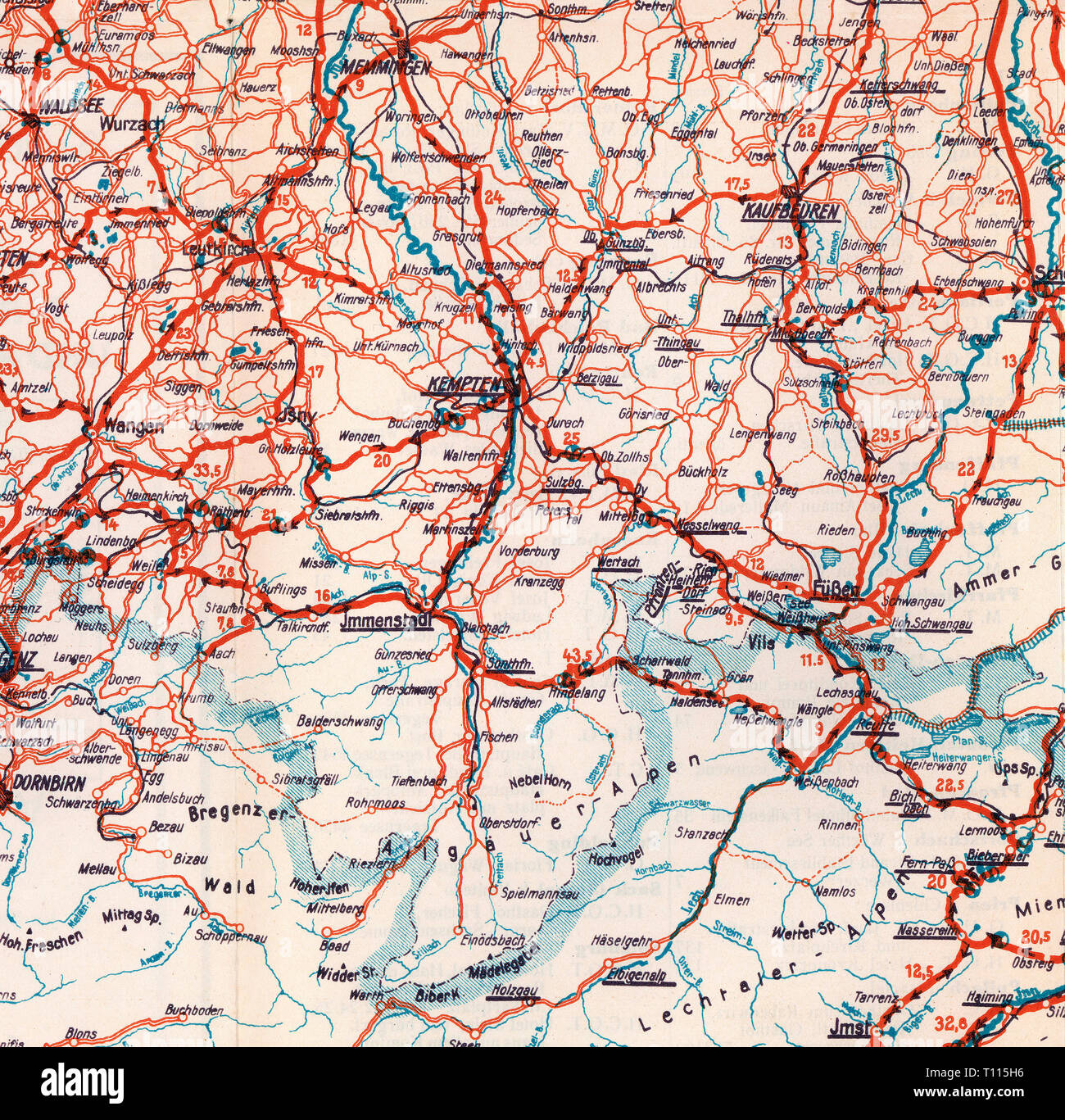 cartography, maps, Allgaeu, road map number 3, Bavarian Highlands, Tyrol, Vorarlberg and neighbouring territories, detail, Munich, later 1920s, Additional-Rights-Clearance-Info-Not-Available - Stock Image