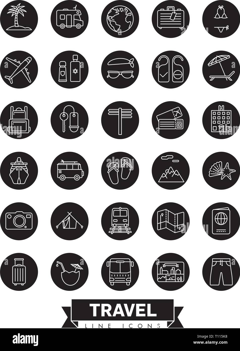 Summer holidays and global travel round black vector line icon collection - Stock Vector
