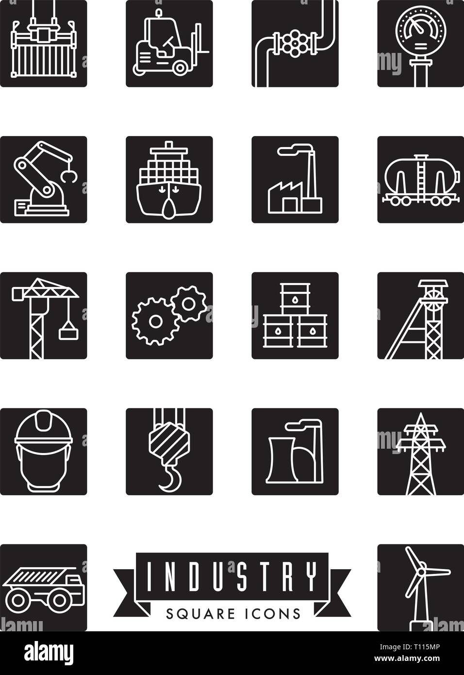 Collection of industry themed square black vector line icons - Stock Vector