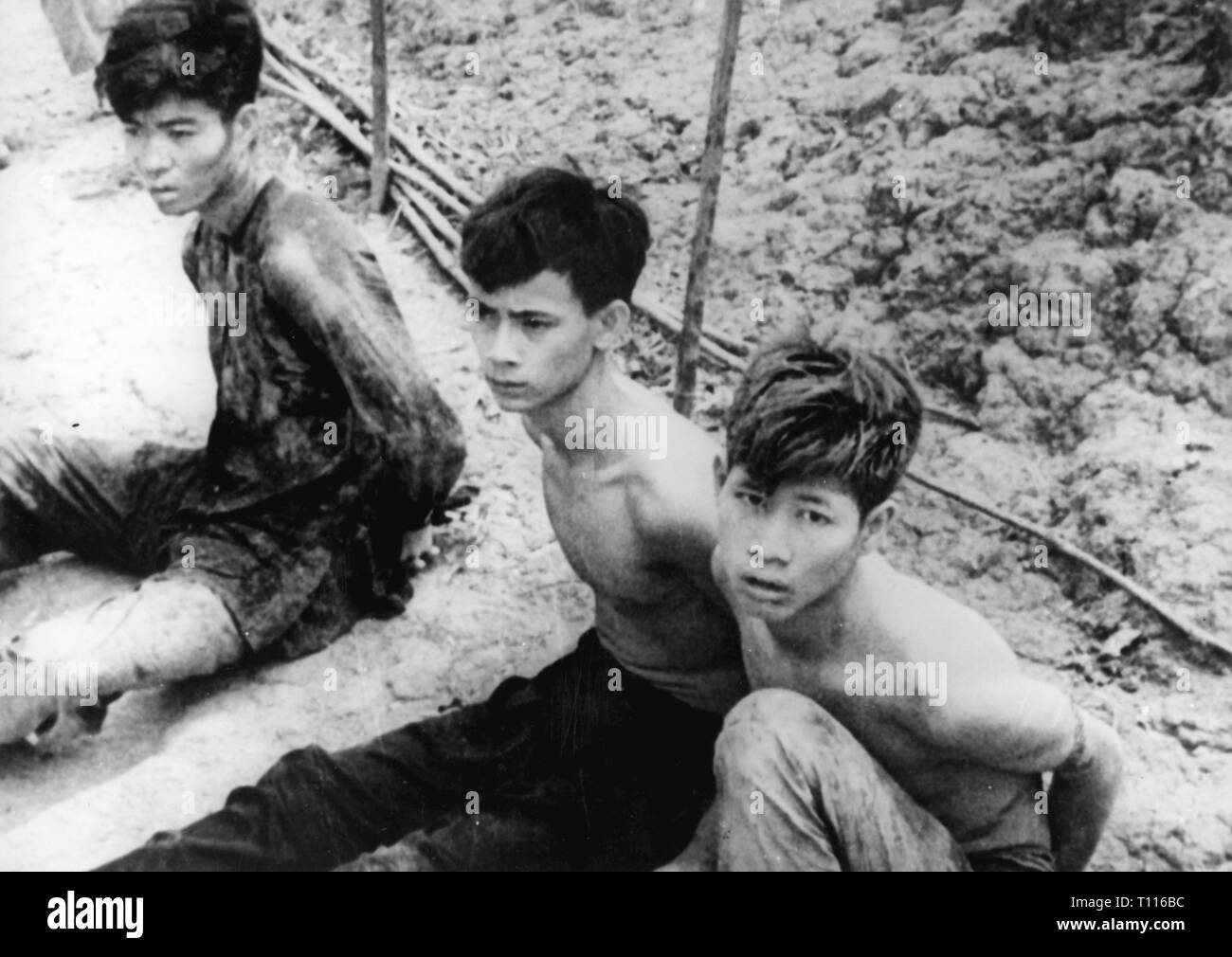 Vietnam War 1955 - 1975, during a mopping-up operation captured members of the National Front for the Liberation of South Vietnam (Vietcong), 3.9.1962, people, rebel, rebels, insurgents, enchained, guerilla, guerrilla, guerillas, guerrillas, NLF, South Vietnam, Viet Nam, Vietnam, war, wars, 20th century, 1960s, cleanup, cleanups, captives, captive, members, member, front, fronts, liberation, liberations, historic, historical, Additional-Rights-Clearance-Info-Not-Available - Stock Image