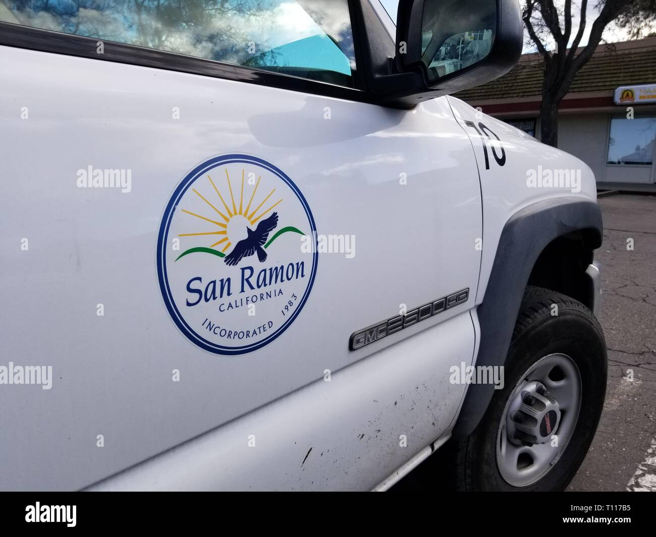 Close-up of logo for the city of San Ramon, California, on