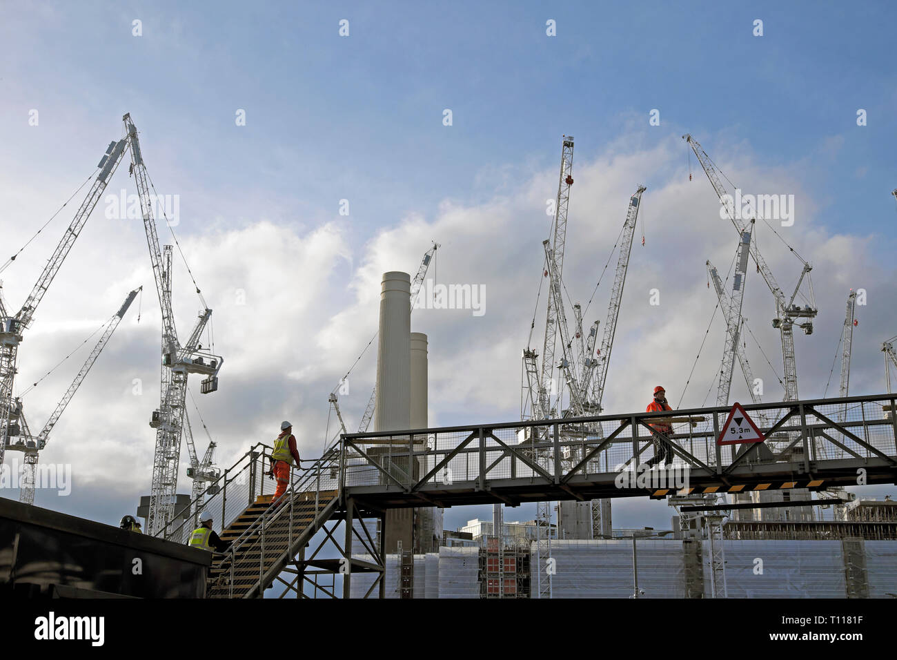 Battersea Power Station cranes construction site in Wandsworth South London SW8 England UK  KATHY DEWITT Stock Photo