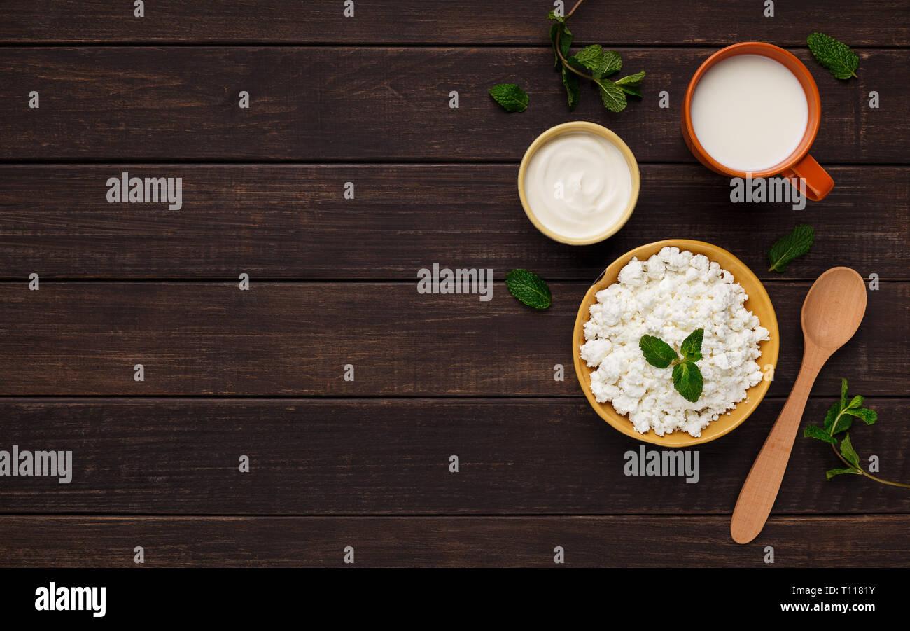 Eco farm milk products concept - Stock Image