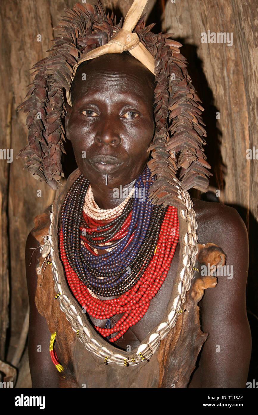 Karo Tribeswoman, Kolcho, Omo Valley, Ethiopia - Stock Image