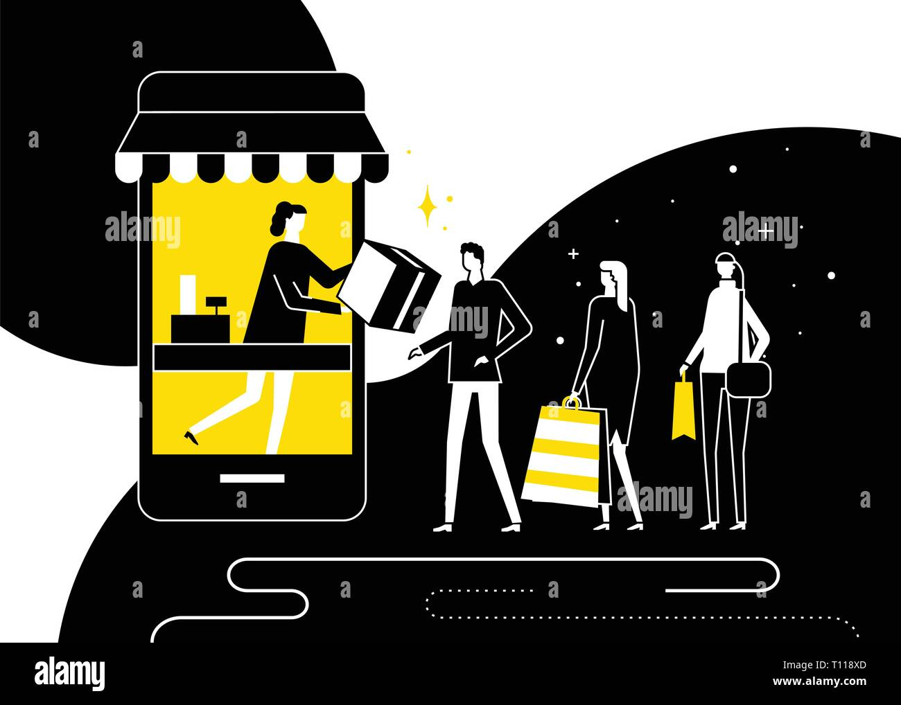 the best attitude 1679a 47bf6 Shopping online concept - flat design style illustration ...