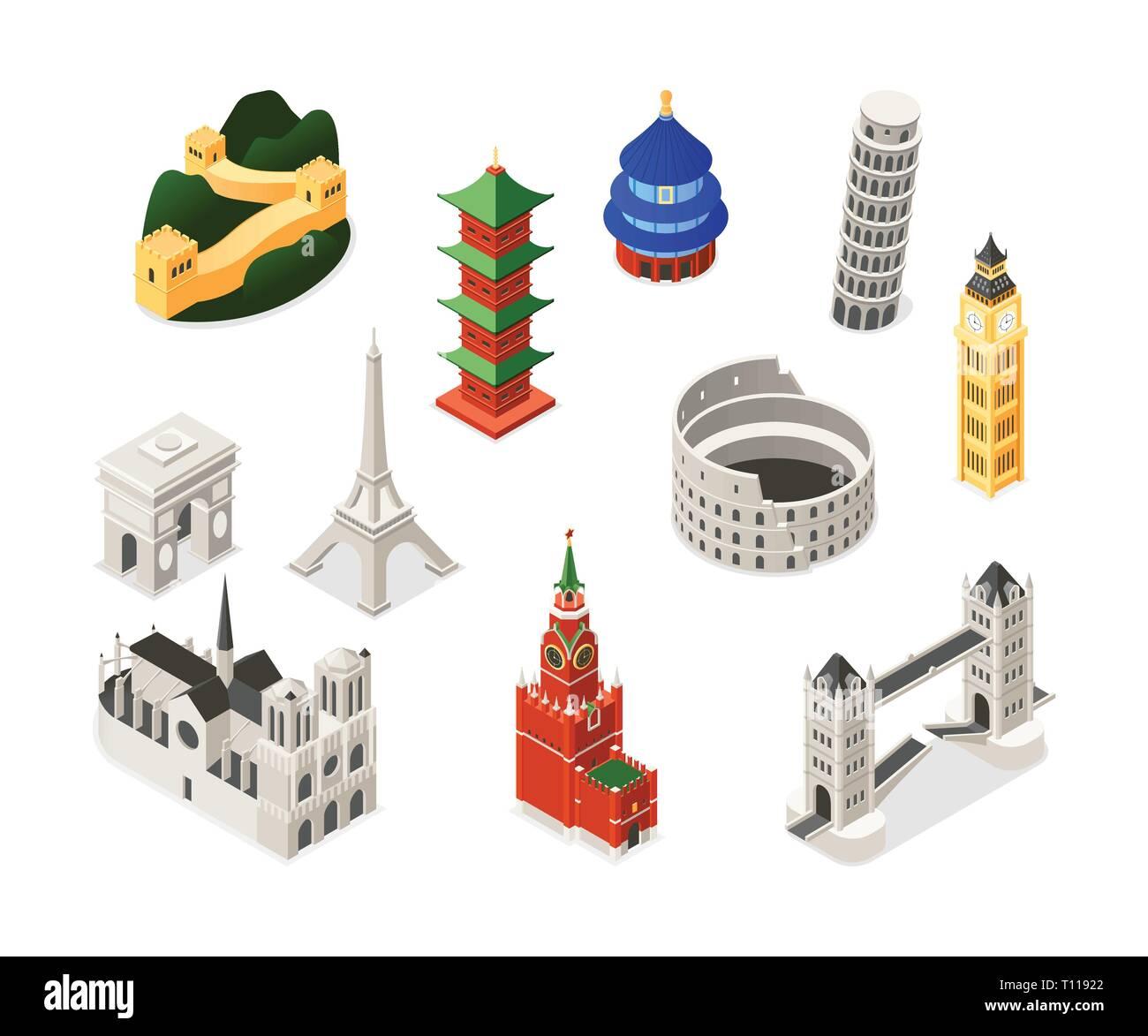 World famous landmarks - colorful isometric set of objects. Buildings, architecture. Notre-Dame de Paris, Triumphal arch, Big Ben, Pisa, Eiffel Tower, - Stock Image