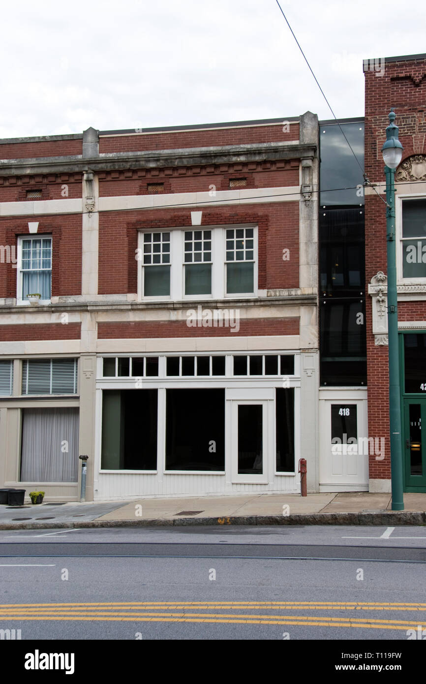 The boarding house (entrance marked 418) from where James Earl Ray shot Martin Luther King in 1968, Memphis, Tennessee. Stock Photo