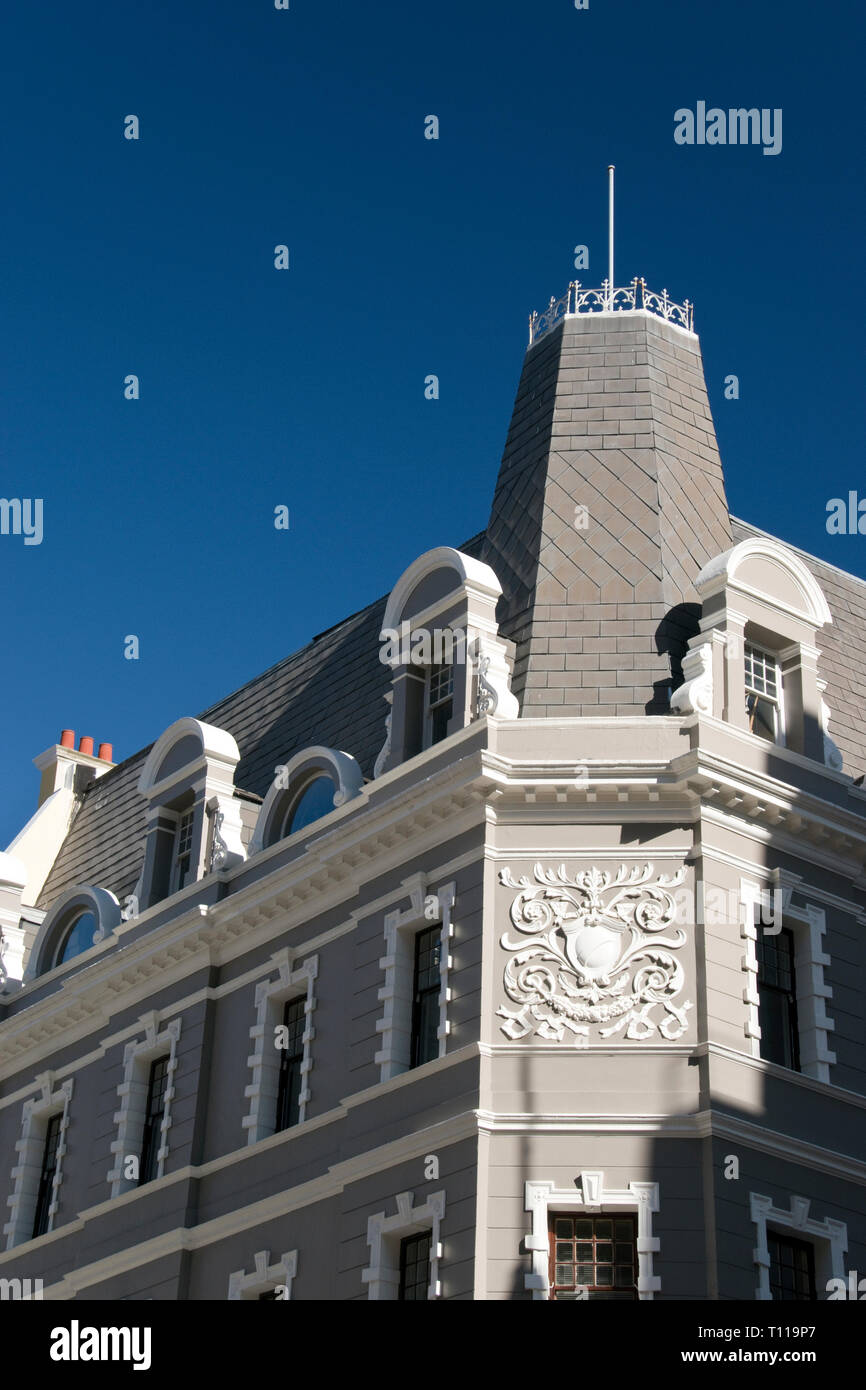 The colorful Cape Dutch architecture of historic buildings in Cape Town, South Africa. - Stock Image