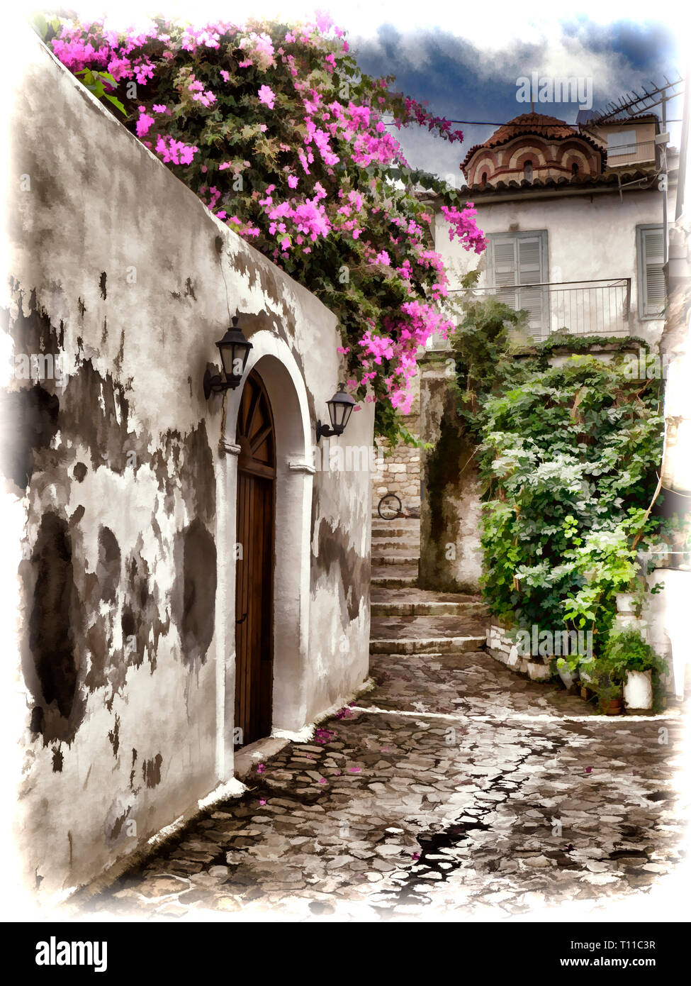 A street in Koroni in Greece on the Peloponnese - Stock Image