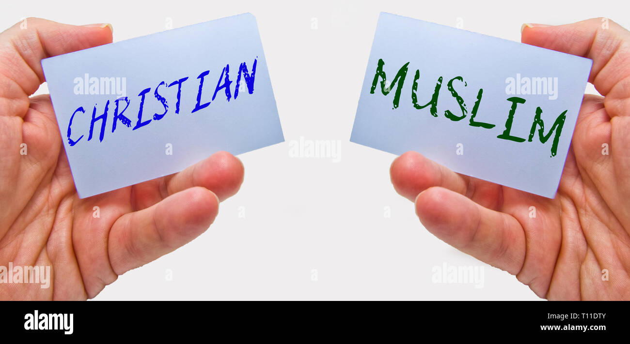 christian and muslim. cultural crisis in the world between the two main monotheist religions - Stock Image