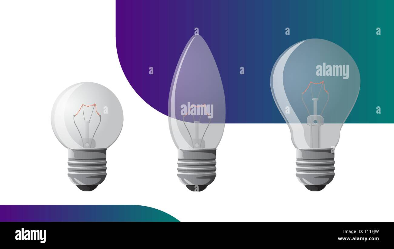 Vector incandescent light bulb set vector illustration for your