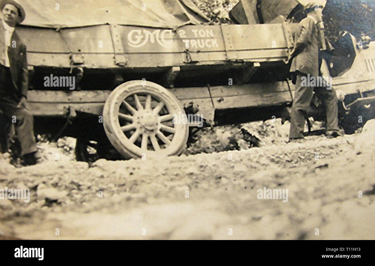 Photos of early America-General Motors 2 Ton truck uphill testing. - Stock Image