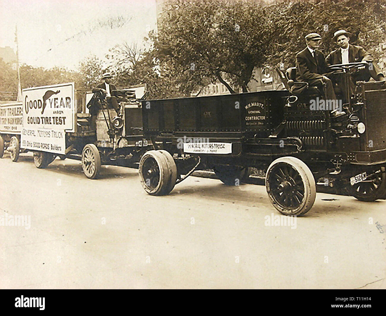 Photos of early America-Goodyear Solid Tire Testing on General Motors trucks. Stock Photo
