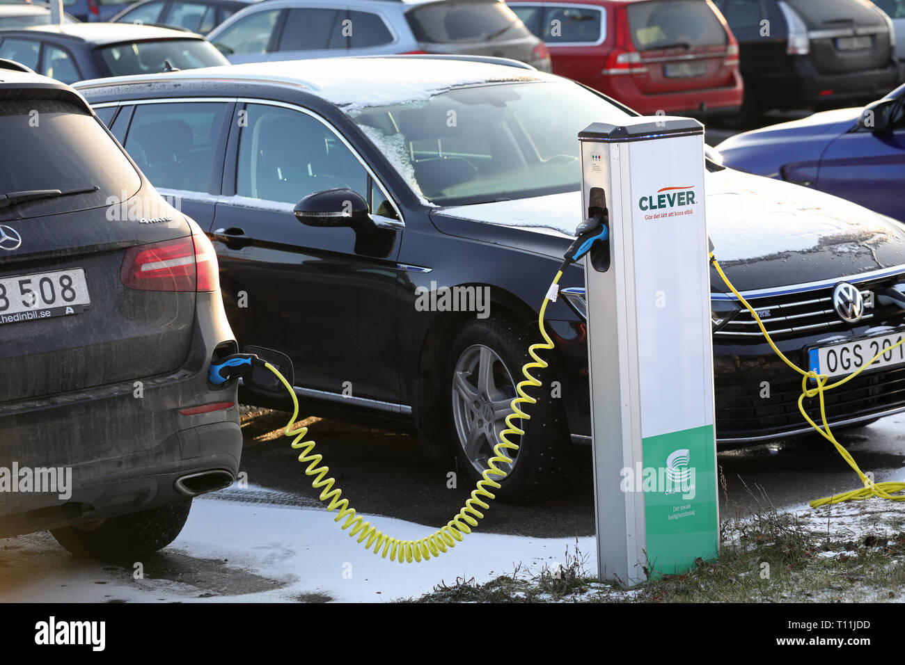 Charging station for electric cars. Linköping, Sweden. Jeppe Gustafsson Stock Photo