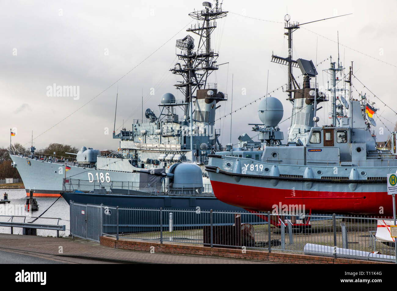 Wilhelmshaven, German Navy Museum, on the south beach, history of the German Navy, warships of the German Navy and the former NVA, destroyer Mölders o - Stock Image