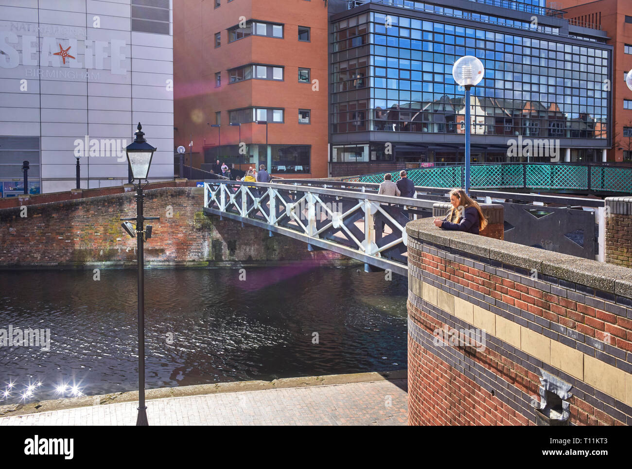 National Sealife Birmingham next to the canal with naturally occuring lens flare - Stock Image