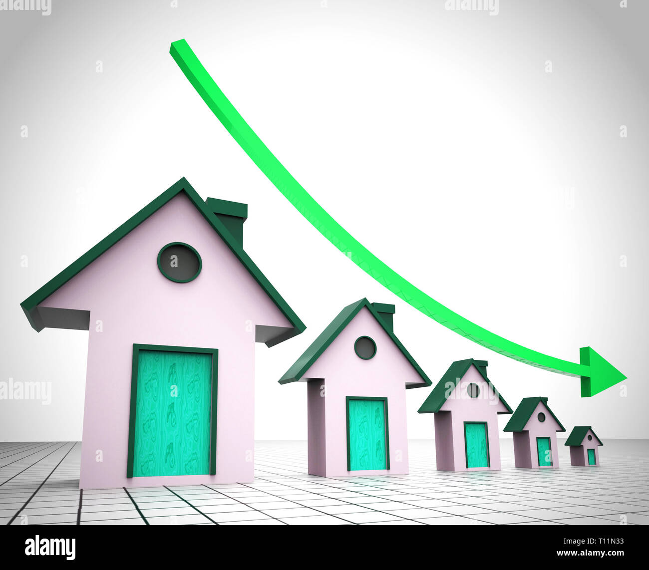 Downsize Home Houses Means Downsizing Property Due To Retirement Or Budget. Find A Tiny House Or Apartment - 3d Illustration - Stock Image