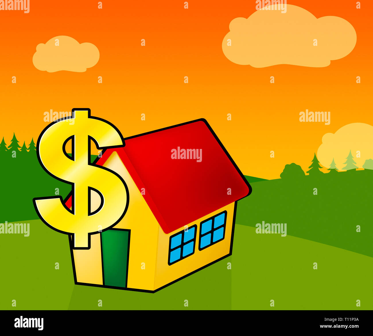 Downsize Home Icon Means Downsizing Property Due To Retirement Or Budget. Find A Tiny House Or Apartment - 3d Illustration Stock Photo