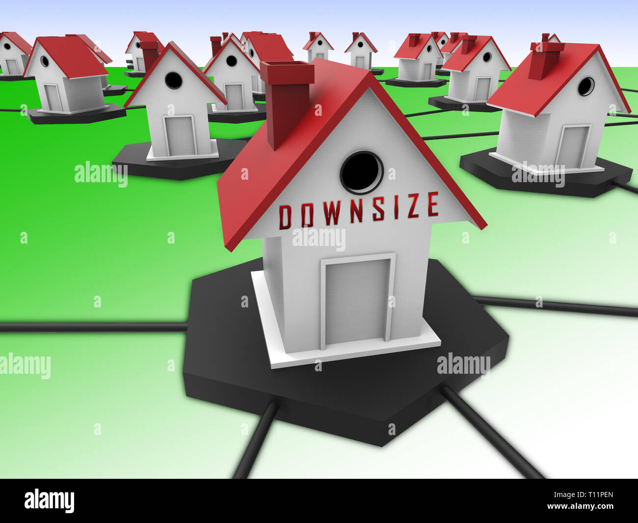 Downsize Home Symbol Means Downsizing Property Due To Retirement Or Budget. Find A Tiny House Or Apartment - 3d Illustration Stock Photo