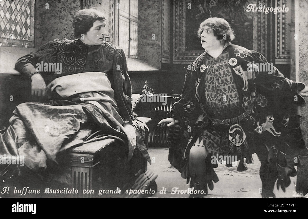 Promotional photography of Annibale Betrone and Oreste Bilancia in L'arzigogolo - Silent movie era - Stock Image