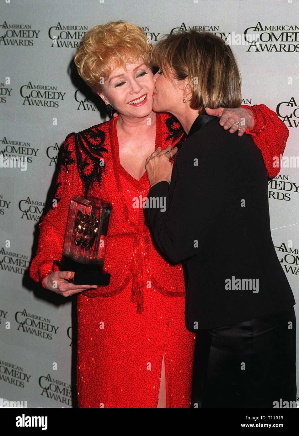 LOS ANGELES, CA. February 09, 1997: Actresses Debbie Reynolds & daughter Carrie Fisher at the American Comedy Awards.  She was presented with the Lifetime Achievement Award for Comedy. - Stock Image