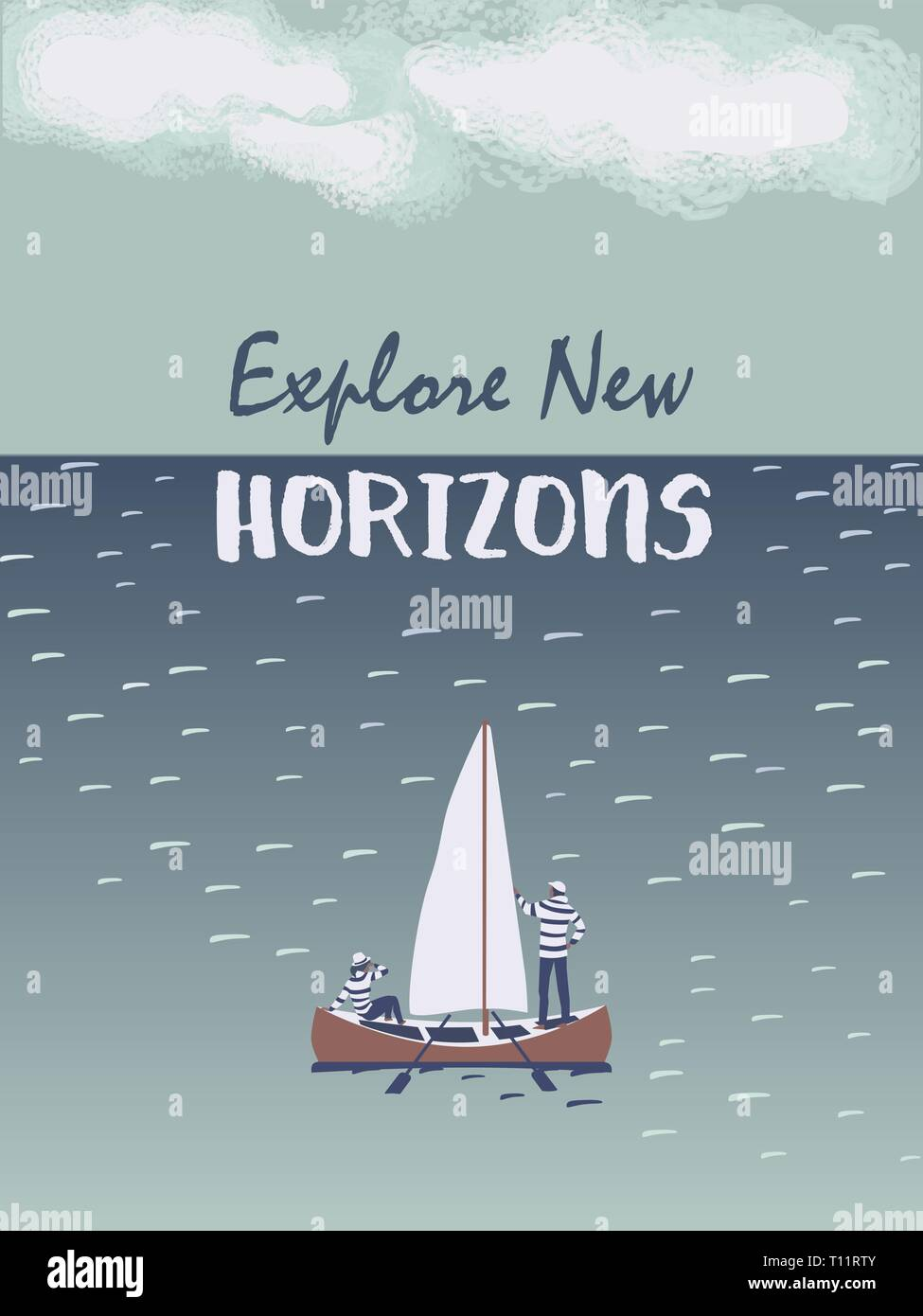 Time for adventures concept. Travellers in sailboat hand drawn cartoon. Young couple enjoy adventure boat sailing in open sea to explore new horizons. - Stock Vector