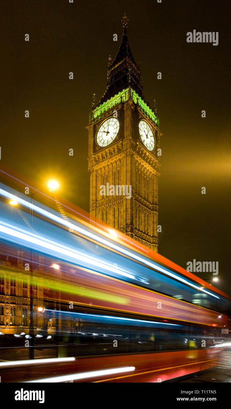 Great Britain, England, London.  Big Ben and London Red Bus. - Stock Image